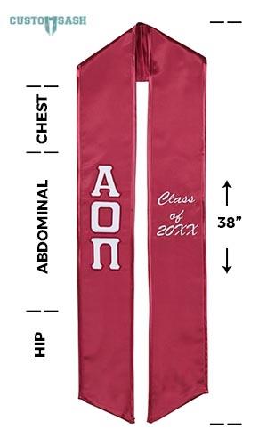 Custom Sash Alpha Omicron Pi Graduation Sash Stole